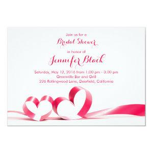 Simple Ribbon Hearts Valentine's Bridal Shower Invitation starting at 2.66