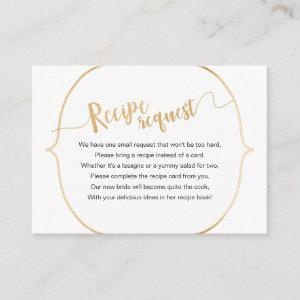 Simple White Gold Recipe Request Enclosure Card starting at 0.35