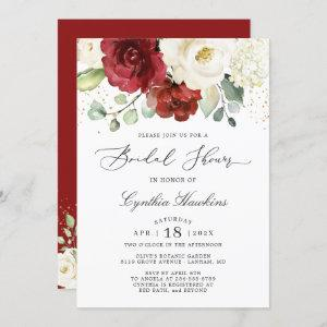 Simply Graceful Red White Floral Bridal Shower Invitation starting at 2.30