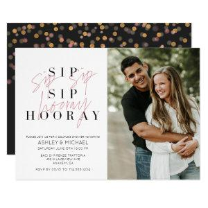 Sip Sip Hooray Black White Photo Couple's Shower Invitation starting at 2.40