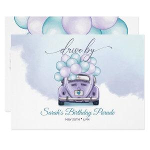 Sky Blue and Lilac Surprise DriveBy Birthday Invitation starting at 2.70