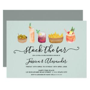 Snacks cocktails watercolor couples shower blue invitation starting at 2.40