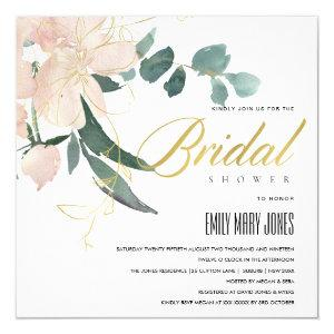 SOFT BLUSH FLORAL BUNCH WATERCOLOR BRIDAL SHOWER INVITATION starting at 2.55