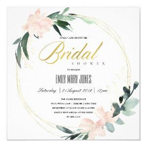 SOFT BLUSH FLORAL FRAME WATERCOLOR BRIDAL SHOWER INVITATION starting at 2.55