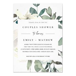 SOFT IVORY WHITE FLORA WATERCOLOR  COUPLES SHOWER INVITATION starting at 2.35