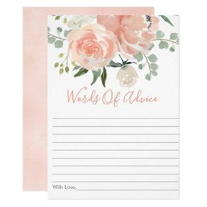 Soft Peach Floral Bridal Shower Advice Cards starting at 2.40