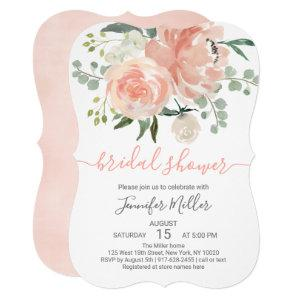 Soft Peach Floral Bridal Shower Die Cut Invitation starting at 2.65