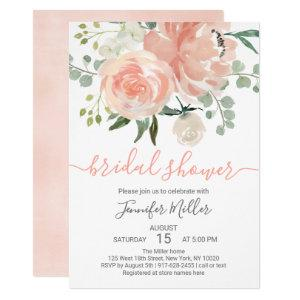 Soft Peach Floral Bridal Shower Invitation starting at 2.40