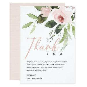 SOFT ROSE BLUSH PINK FLORA BRIDAL SHOWER THANK YOU INVITATION starting at 2.77