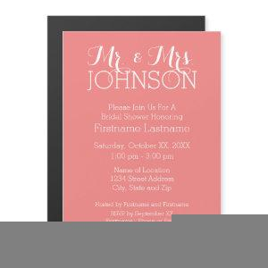 Solid Color Coral Peach - Mr & Mrs Wedding Favors Magnetic Invitation starting at 3.20