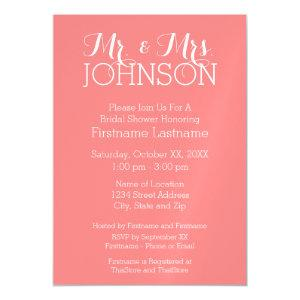 Solid Color Coral Peach - Mr & Mrs Wedding Favors Magnetic Invitation starting at 4.65