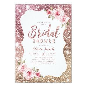 Sparkle rose gold glitter and floral bridal shower invitation starting at 2.56