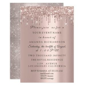 Sparkly Glitter Rose Gold Elegant Bridal Birthday Invitation starting at 1.95