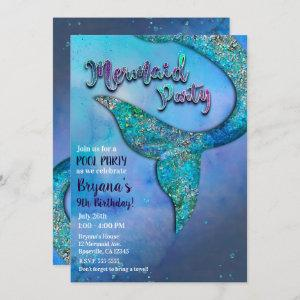 Sparkly Ocean Mermaid Fin Tail Birthday Party Invitation starting at 2.77