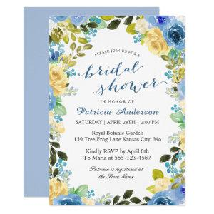Spring Blue Yellow Floral Romantic Bridal Show Invitation starting at 2.40