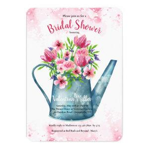 Spring Bouquet in Watering Can Bridal Shower Invitation starting at 2.65