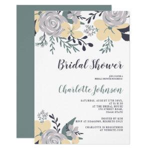 Spring dusty green yellow floral bridal shower invitation starting at 2.40