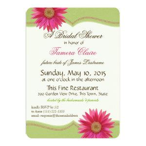 Spring Green and Fuschia Pink Daisy Bridal Shower Invitation starting at 2.81