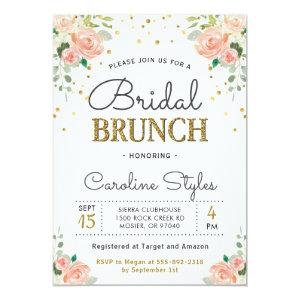 Spring Peony Gold Glitter Elegant Bridal Brunch Invitation starting at 2.50