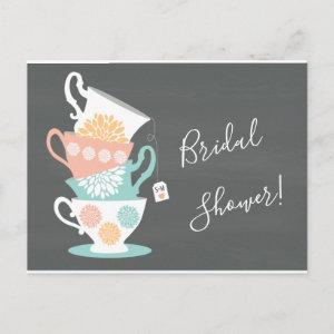 Stacked Tea Cups on a Chalkboard Background Invitation Postcard starting at 1.60