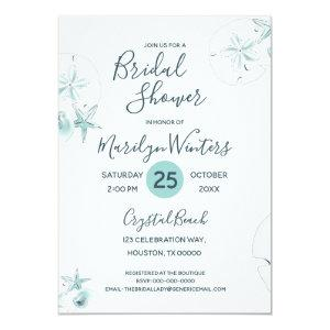 Starfish Shells Modern Elegant Beach Bridal Shower Invitation starting at 2.45