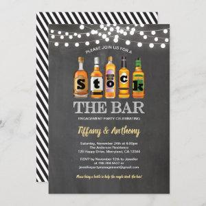 Stock the bar chalkboard engagement party invitation starting at 2.25
