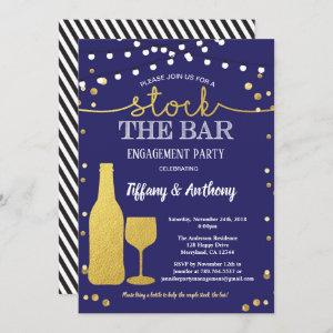 Stock the bar engagement party blue and gold invitation starting at 2.40
