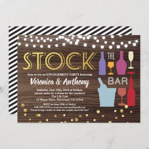 Stock the bar invitation engagement wood & gold starting at 2.25