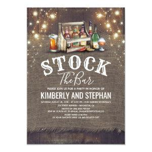 Stock The Bar Invitations Rustic Couples Shower starting at 2.40