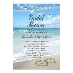 String Lights Hearts in Sand Beach Bridal Shower Invitation starting at 2.65