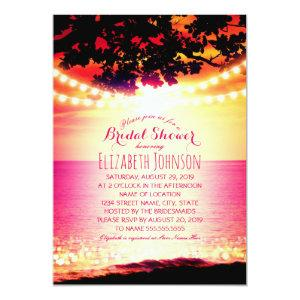 String lights Sunset Tropical Beach Bridal Shower Invitation starting at 2.35