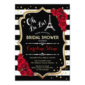 Stripes Red Roses French Style Bridal Shower Invitation starting at 2.35