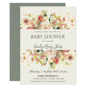 SUBTLE PEACH PINK WATERCOLOR FLORAL BABY SHOWER INVITATION starting at 2.77