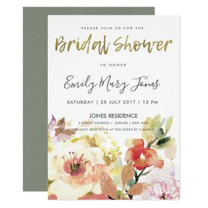 SUBTLE PEACH PINK WATERCOLOR FLORAL  BRIDAL SHOWER INVITATION starting at 2.65