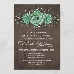 Succulent Baby's Breath Bridal Shower Invitations starting at 2.40