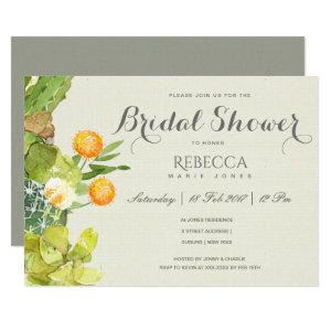 SUCCULENT CACTUS FLORAL GARDEN Bridal Shower Invitation starting at 2.51