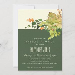 SUCCULENT CACTUS FLORAL WATERCOLOR BRIDAL SHOWER INVITATION starting at 2.40