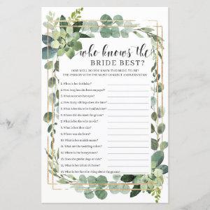 Succulent floral who knows the bride best game starting at 0.71