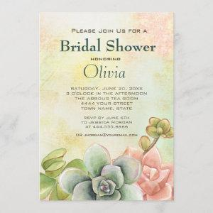 Succulent Watercolor Floral Bridal Shower Invitation starting at 2.71