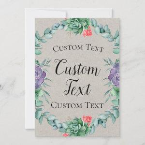 """Succulent Welcome Sign 5x7"""" Invitation starting at 2.40"""
