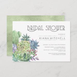 Succulents and Sparkle Bridal Shower Green ID515 Invitation starting at 2.21