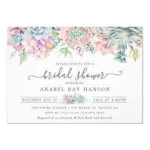 Succulents Cactus Floral Blush Bridal Shower Invitation starting at 2.10