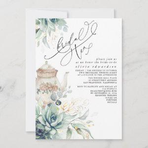 Succulents Gold Greenery Bridal Shower Tea Party Invitation starting at 2.51