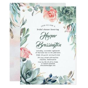 Succulents Greenery and Pink Rose Bridal Shower Invitation starting at 2.51