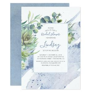 Succulents Greenery Dusty Blue Bridal Shower Invitation starting at 2.26