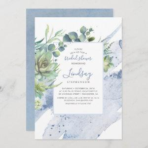 Succulents Greenery Dusty Blue Bridal Shower Invitation starting at 2.51