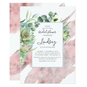 Succulents Greenery Rose Gold Foil Bridal Shower Invitation starting at 2.51