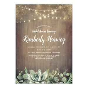Succulents Greenery Rustic Country Bridal Shower Invitation starting at 2.26