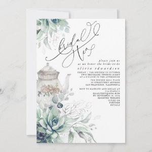 Succulents Silver Greenery Bridal Shower Tea Party Invitation starting at 2.51