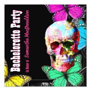Sugar skull and butterflies bachelorette party invitation starting at 2.51